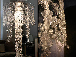 Chandelier made of water bottles