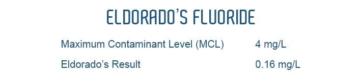 Eldorado's Fluroride Contaminant Level 0.16 mg/L