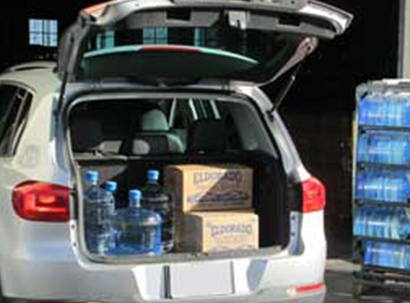 Vehicle trunk filled with Eldorado Water