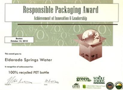 Eldorado Water Winner of the Responsible Packaging Award