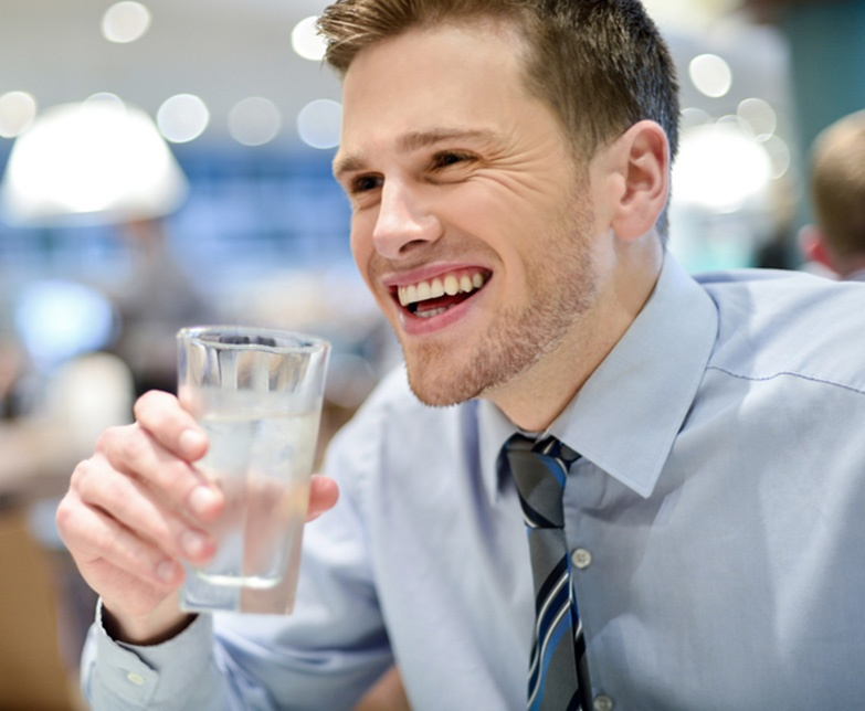 Business Man drinking water