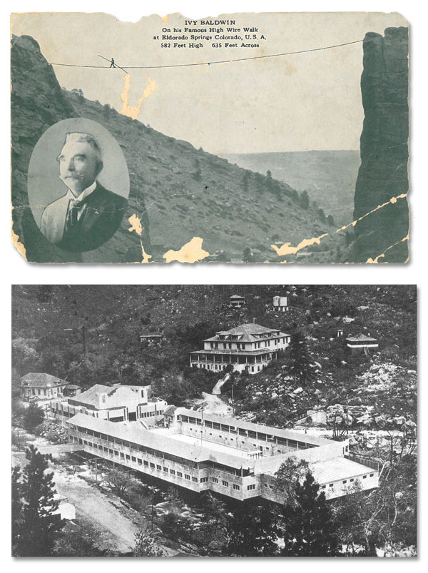 Historic Eldorado Cards showing (top) Ivy Baldwin high wire walk and (bottom) original resort construction