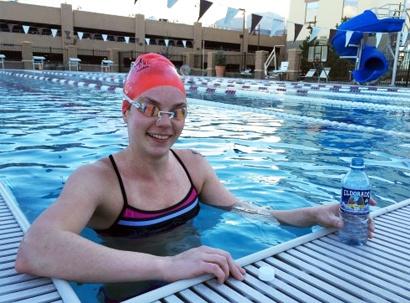 Beth, athletic swimmer, Eldorado water testimonial