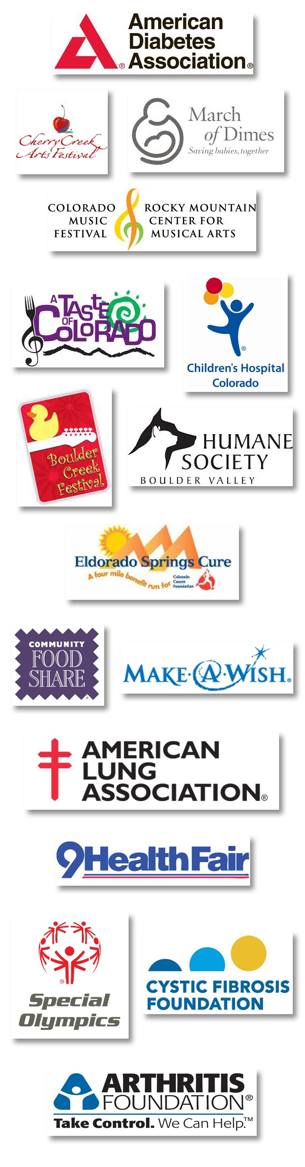 List of organizations, charities, and events that Eldorado Water supports through donation and sponsorship.