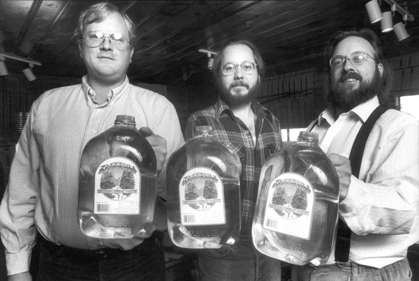 The three co-founding friends present their new product