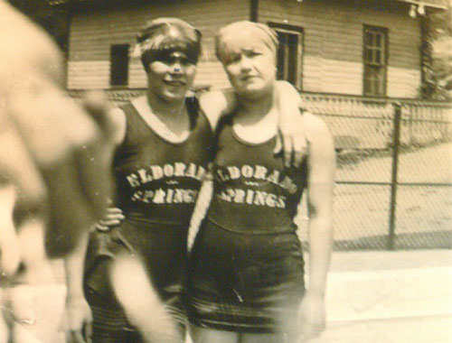Taken in 1925, Two ladies wear Eldorado Springs swimsuits at the resort
