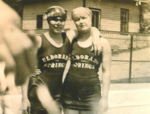 Taken in 1925, Two ladies wear Eldorado Springs swimsuits at the resort